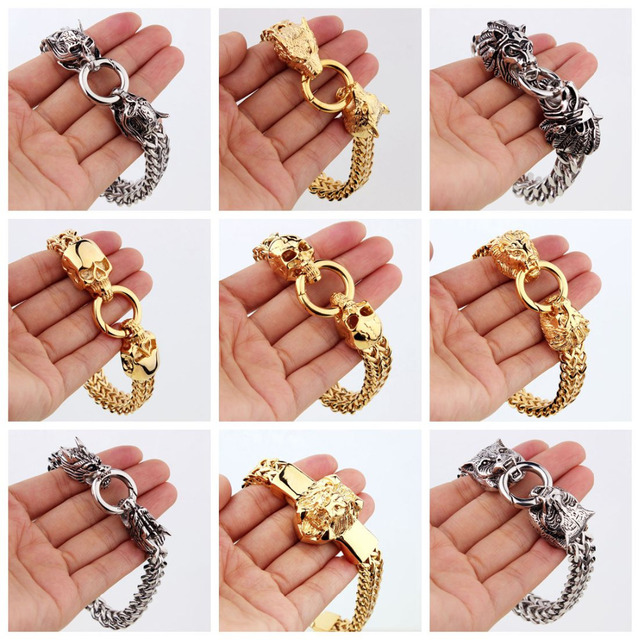 High Quality Mens Stainless Steel Figaro Rolo Chain Bracelet Wolf/Skull/Lion/Dragon/Owl Head Bangles Jewelry Silver Gold Tone