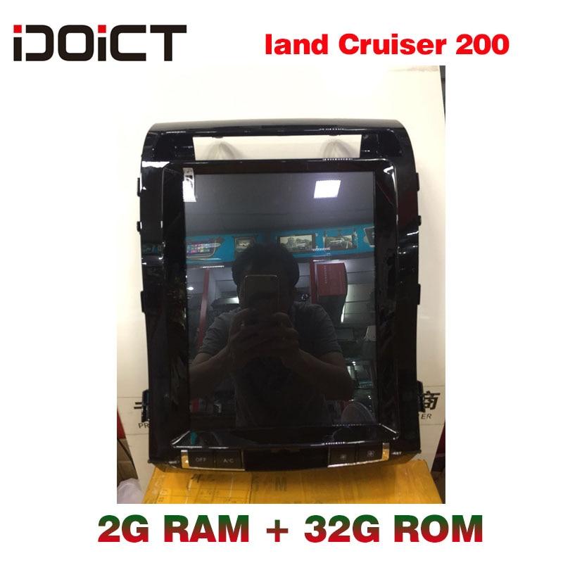 IDOICT TESLA Android 6.0 2G + 32G lecteur DVD de voiture GPS Navigation multimédia pour Toyota Land Cruiser Prado 200 Radio 2008-2015