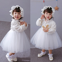 2017 Newborn White Dress For Baptism Long Sleeves Baby Girl Lace Christening Prom Dress Toddler Birthday Weeding Party Wear+ hat