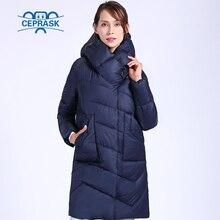 2020 Ceprask jac 新高品質冬のジャケットの女性プラスサイズロング女性の厚いパーカー綿冬フード付きダウン