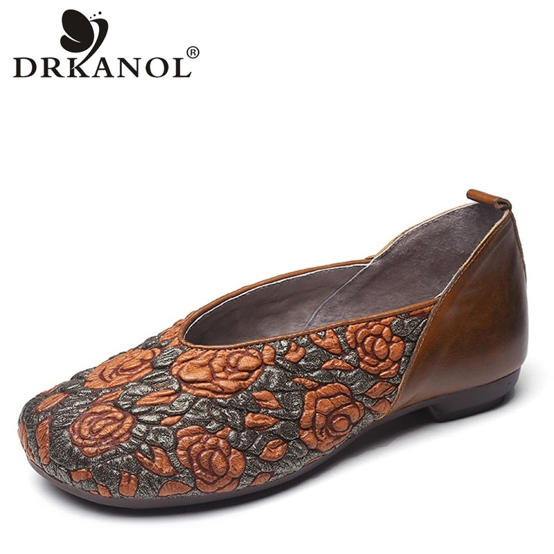 DRKANOL Spring Genuine Cow Leather Flat Shoes Women Slip On Loafers Shallow Casual Vintage Flowers Ladies