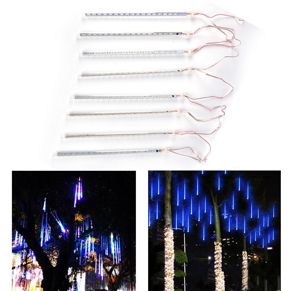 8 шт./компл. 30 см метеоритный дождь трубы AC100-240V светодиодный Рождественские огни Свадебная вечеринка сад Xmas свет шнура ЕС Plug белого и синего ...