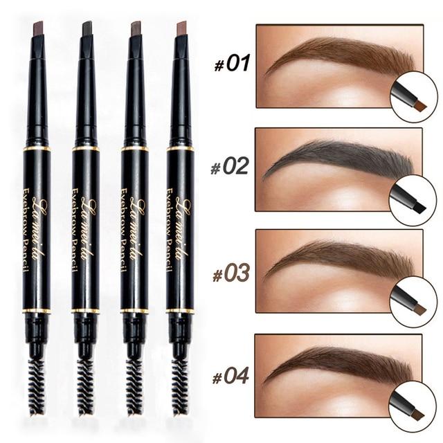 Brand Waterproof Eyebrow Pencils Dark Brown Black Double End Eyes