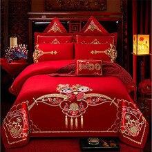 Luxury red wedding kit New Chinese embroidered duvet cover set high level bedding 6pcs/7pcs/8pcs/10pcs free ship