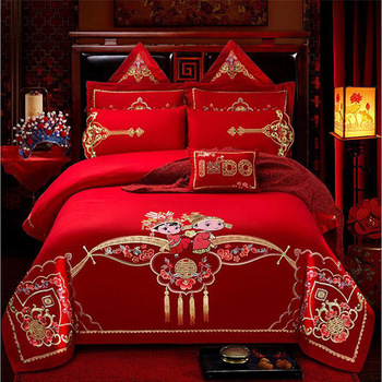 Luxury red wedding kit New Chinese embroidered duvet cover set high level wedding bedding set 6pcs/7pcs/8pcs/10pcs kit free ship