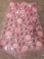 African pink Lace Fabric French Sequins Net Lace African Guipure Tulle Lace fabric 2018 High Quality French Sequin Fabric