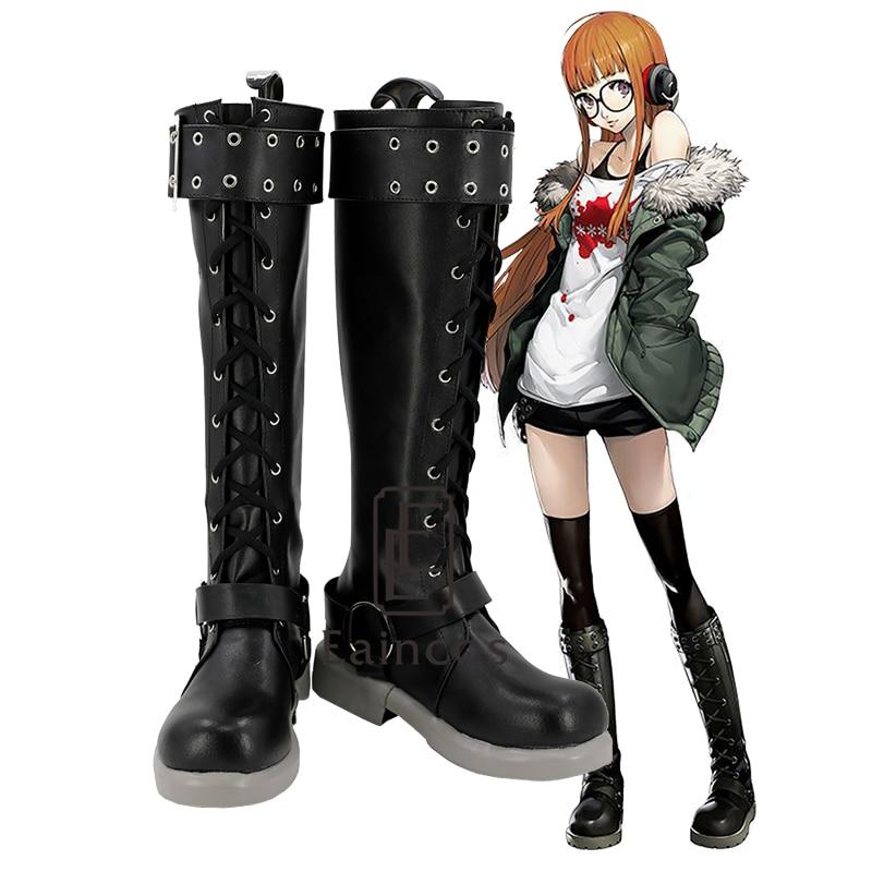Anime Persona 5 Futaba Sakura Cosplay Party Shoes Fancy Boots Custom made sword art online 5 phantom bullet death gun cosplay shoe party boots high quality custom made