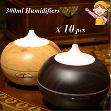 10pcs/lot 300ml Humidifiers Essential Oil Aroma Diffuser Veins Wood Ultrasonic Cool Mist Humidifier for Home Office Bedroom
