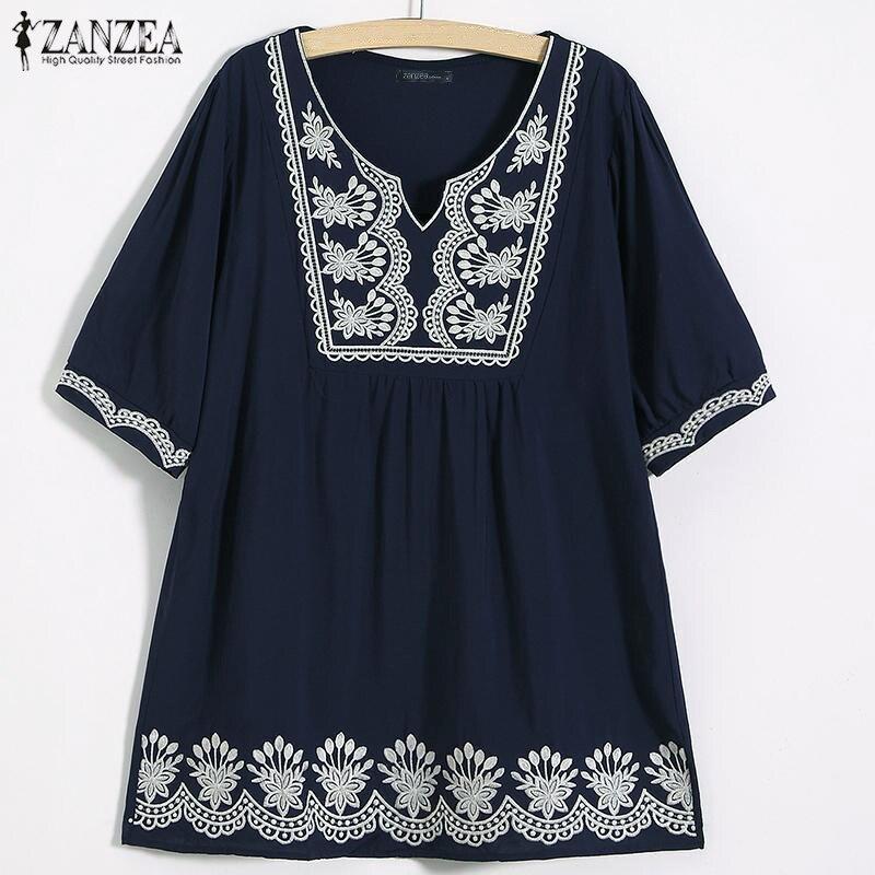 Summer Bohemian Shirt ZANZEA WomenShort Sleeve Floral Printed Blouse Casual Beach Tops Female Chemise Loose  V Neck Blusas 5XL