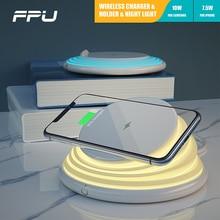 FPU Desktop Nacht Lampe LED Qi Drahtlose Ladegerät Telefon Halter Schnelle Lade für iPhone Xs Max XR X Samsung S10e s10 + S9 S8 Hinweis 8