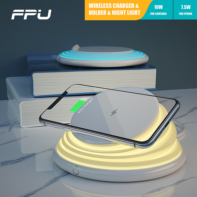 FPU เดสก์ท็อป Night โคมไฟ LED Qi Wireless Charger ผู้ถือโทรศัพท์ Fast CHARGING สำหรับ iPhone XS MAX XR X Samsung S10e s10 + S9 S8 หมายเหตุ 8
