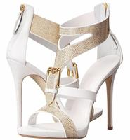 Hot Selling Crystal High Heel Sandals Women Peep Toe Thin Heel Shoes Buckle Straps Rome Sandal White Fashion Party Shoes