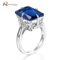 NoEnName_Null Genuine Fine Brand Jewelry Vintage Style 925 Sterling Silver Rings With Sapphire September Birthstone bague femme