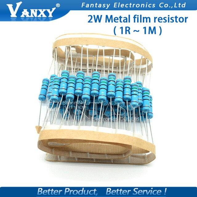 20pcs 2W Metal film resistor 1% 1R ~ 1M 2.2R 4.7R 10R 22R 47R 100R 220R 470R 1K 10K 100K 2.2 4.7 10 22 47 100 220 470 ohm 1