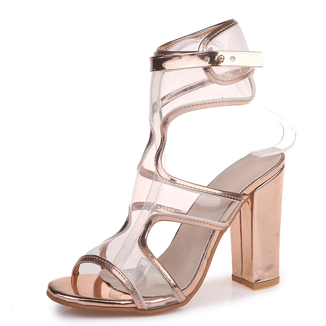 Women Sandal Solid Buckles Thick High Heel Transparent PVC Sandal