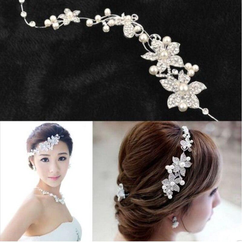 2019 Moda Kobiety Lady Posrebrzane Rhinestone Bridal Wedding Flower Imitacje pereł Pałąk Spinka do włosów Grzebień Party Biżuteria