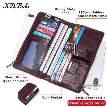 X.D.BOLO 2019 Women\'s Wallet Genuine Leather Wallets Female Portomonee Coin Purse Long Clutch Purses Phone Card Holder Carteras