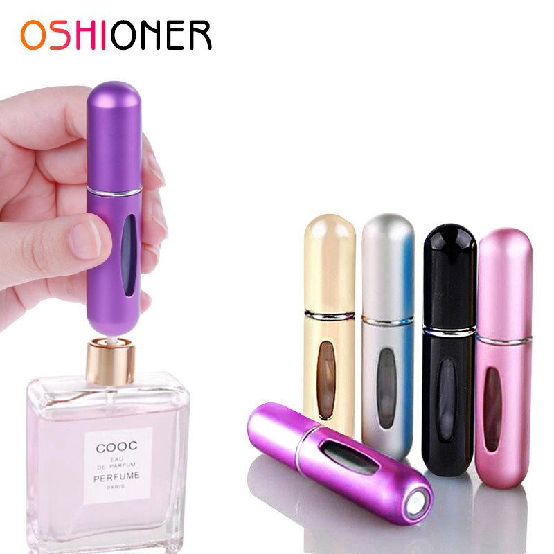 OSHIONER 5ml 8ml Refillable Mini Perfume Spray Bottle Aluminum Spray Atomizer Portable Travel Cosmetic Container Perfume Bottle(China)