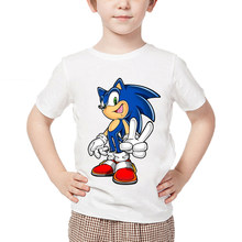 Children's cartoon printing sonic hedgehog funny T-shirt baby boy girl summer cotton shirt children's casual wear(China)