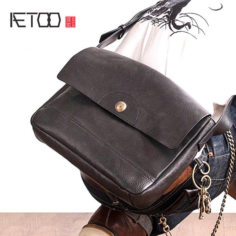 c8793c71d734 AETOO утолщенная воловья кожа ретро почтальонская сумка мужская кожаная  сумка через плечо