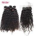 4 pcs 7a Série Cabelo Malaio com fechamento rendas profunda onda cabelo befa cabelo virgem Malaio com fechamento frete grátis produtos