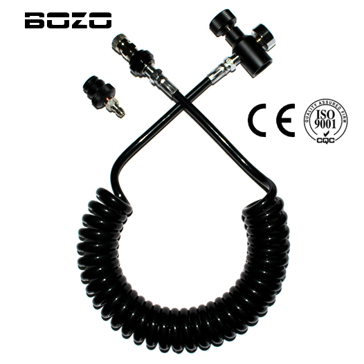 pcs co2 thank Coil Remote Hose Thick line 3.5M & 1500psi gauge WITH Slide Check(BLACK) paintball New