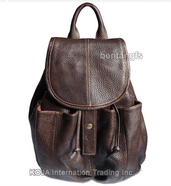 ФОТО Fashion women leather backpack women backpack for teenage girls Genuine leather school bag female drawstring bag bagpack Brown