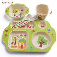 Children Bamboo Dishes Kids Feeding Tableware Infant Dinnerware Fork Spoon Cup Toddler Bowls Food Container Utensils