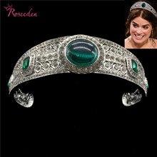 Vintage Green Rhinestone Princess Eugenie Tiara Crystal Bridal Royal Crown Diadem  Wedding Hair Accessories Jewelry RE3196 цена в Москве и Питере