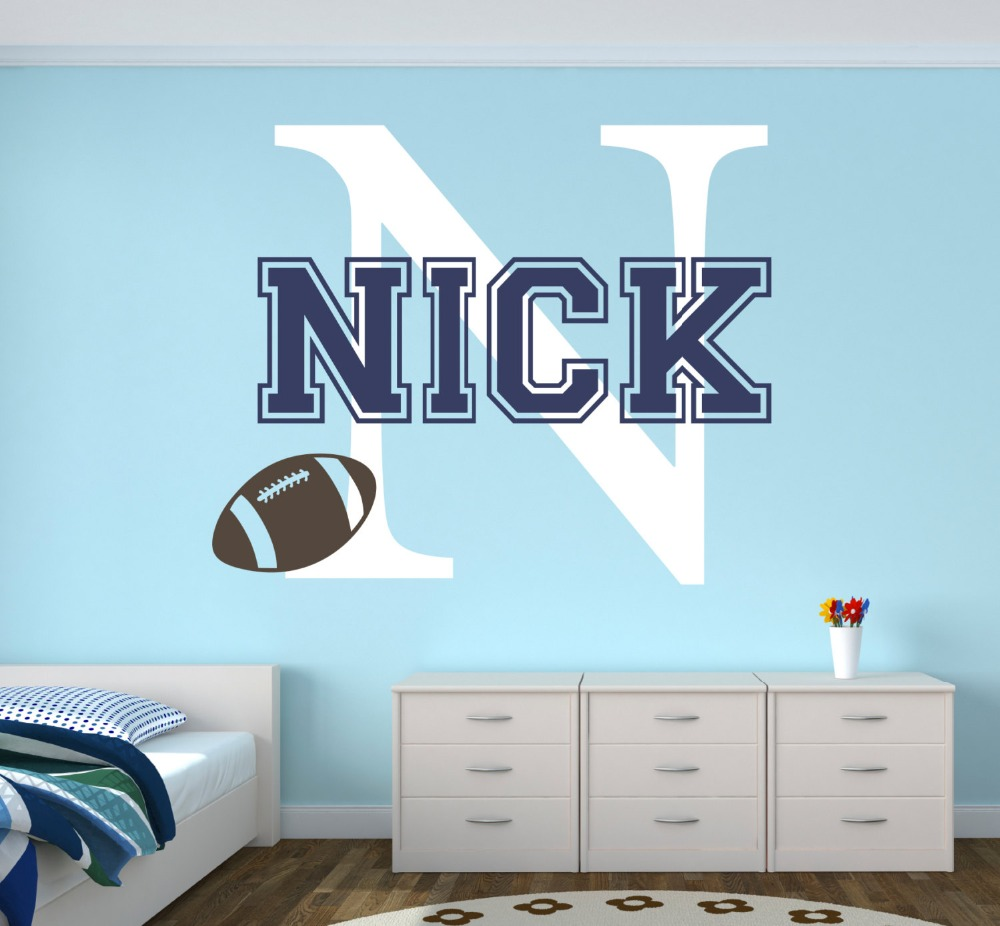 Personalized Name Wall Decal - Football Sports Baby Room Decor Nursery Wall Decals Vinyl Mural Boys room DIY Decoration W-2