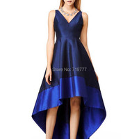 Navy Blue High Low Prom Dresses 2017 Cheap V Neck Formal Evening Dresses Custom Simple Design