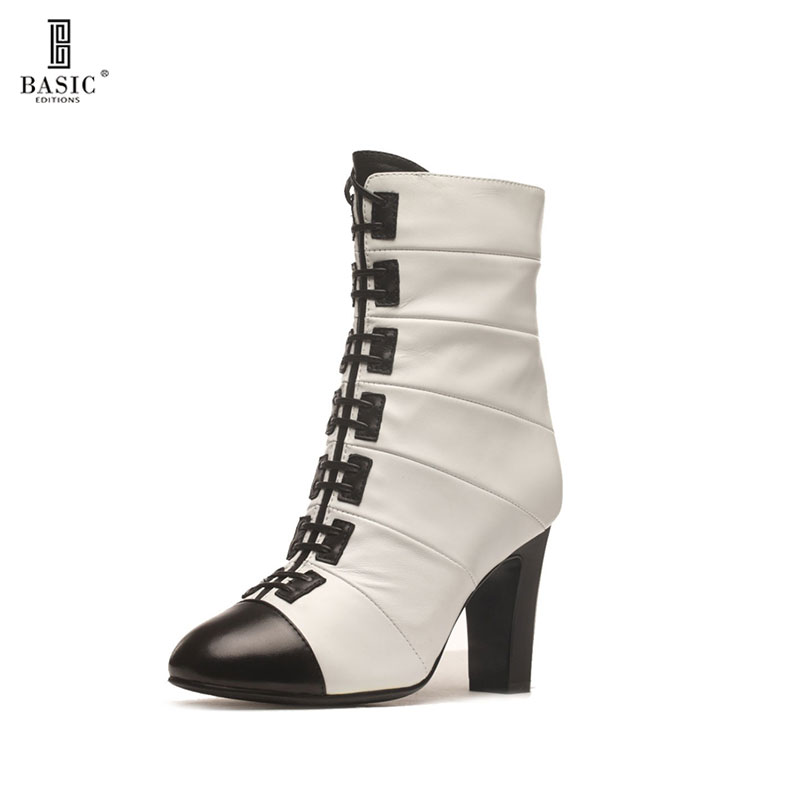 BASIC EDITIONS New Fashion Sexy Women's Ankle Boots High Heels Women Winter Autumn Boots Ladies Shoes F1329-60