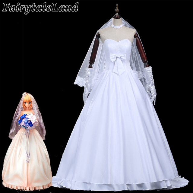 Fate Zero Saber Cosplay Costume 10th Anniversary Party Wedding Dress Costumes For Women