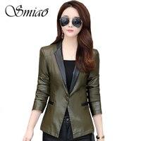 Leather Jacket Women 2019 Spring Autumn Slim Women Leather Jackets Plus Sizes 4XL Single Button Black Basic Jacket Leather Women