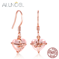 ALLNOEL 925 Sterling Silver Gold Plated Drop Earring Heart Women's Earrings Natural Gemstone Rose Quartz Fine Jewelry For Girl