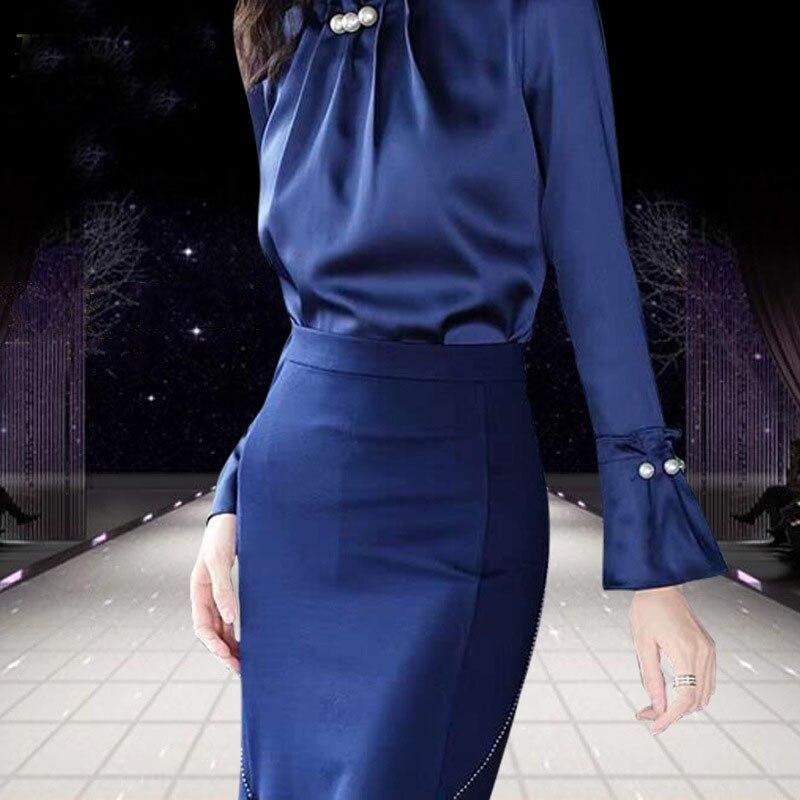 Kadın Giyim'ten Kadın Setleri'de Katı Renk Kadınlar Elbise Setleri Bayan Turtleeck Parlama Kollu Bluzlar Bodycon evaze elbise Zarif Kadın Iki Adet Takım Elbise K611'da  Grup 3