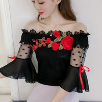 2017 Summer Flower Emboridery Flare Sleeve Off The Shoulder Lace Blouses Women Sexy Black Mesh Blouses