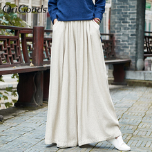 OriGoods Linen Wide leg Pants Women Elastic waist Skirt Pant
