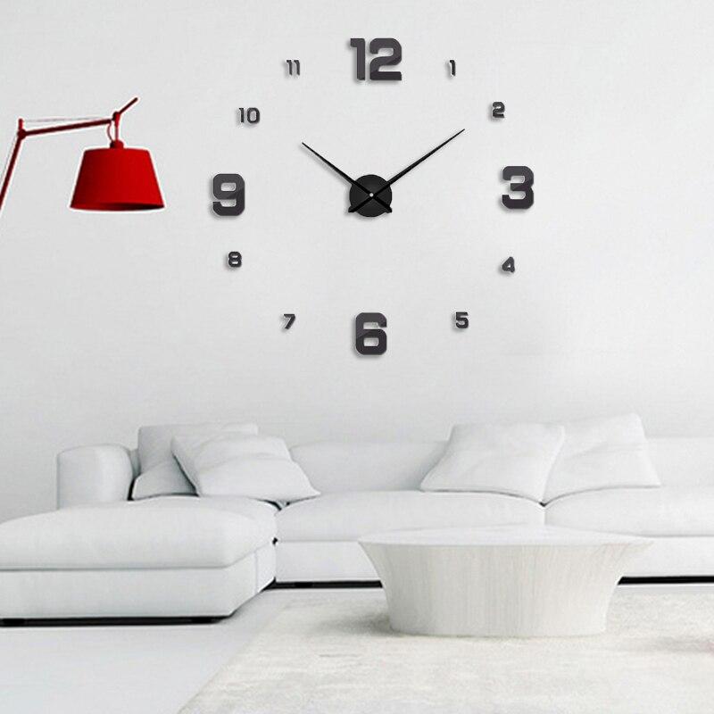 Freeshipping 2019 Nueva decoración del hogar espejo grande reloj de - Decoración del hogar - foto 4