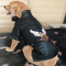 Waterproof Big Large Dog PU Leather Jacket Soft Pet Coat Eagle Trim Autumn Winter Overcoat Sport Outerwear Clothing For Huge