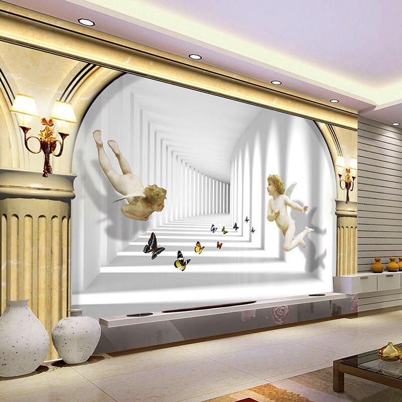 Custom Photo Wallpaper 3D Stereo Roman Column Space Angel Butterfly Wall Mural European Style Living Room Hotel Backdrop Decor