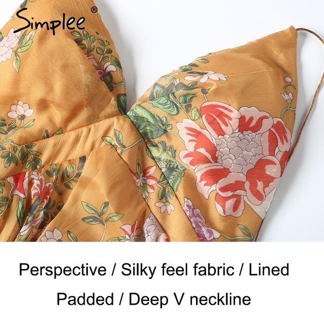 Simplee V neck print summer women dress Summer beach party backless dresses Sexy asymmetrical high waist dresses