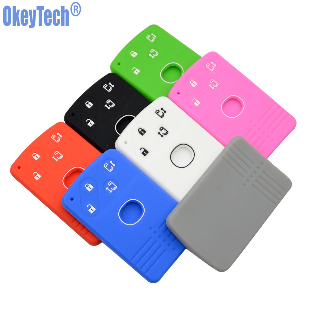 OkeyTech 4 Button Silicone Remote Card Key Cover For Mazda 2 3 5 Premacy Miata 6 8 RX8 MX5 M8 CX-7 CX-9 Verisa MPV Fob Protector