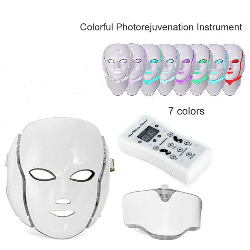 ATANG 2018 nouveau 7 couleur LED visage cou masque microélectronique Photon masque rides acné enlèvement peau rajeunissement visage beauté Spa