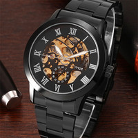 2017 Famous Brand Winner Luxury Fashion Vintage Steel Stainless Black Dial Men Mechanical Skeleton Watch For