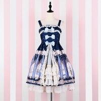 Harajuku Kawaii Print Triple Bow Luxury Lolita Dress Spaghetti Straps Women Lace Ruffles Hem Princess Cute