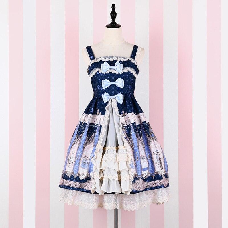 Harajuku Kawaii imprimer Triple nœud luxe Lolita robe bretelles Spaghetti femmes dentelle volants ourlet princesse mignon robes d'été V160