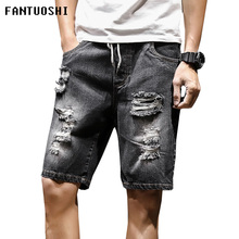 2019 New Summer mens denim shorts Breathable cotton men short jeans casual straight Large size 5XL