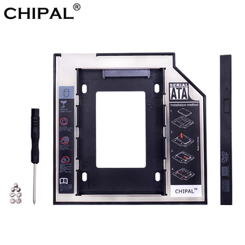 """CHIPAL Universal SATA 3.0 2nd HDD Caddy 9.5mm for 2.5"""" 2TB SSD Case Hard Disk Enclosure with LED for Laptop DVD-ROM Optical Bay"""