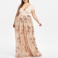 New Large Sizes Women Long Dresses Sexy V Neck Elegant Short Sleeve Floral Dress Plus Size